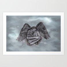 Eros , Amor - Angel and Woman in Love Art Print