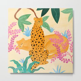 Panthers in Magical Garden Metal Print