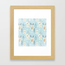 From Bears And Christmas - Cute teal X-Mas Pattern Framed Art Print