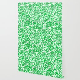 Small Spots - White and Dark Pastel Green Wallpaper