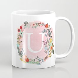 Flower Wreath with Personalized Monogram Initial Letter U on Pink Watercolor Paper Texture Artwork Coffee Mug