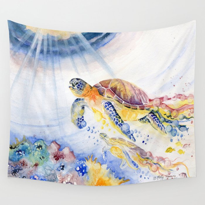 Going Up Sea Turtle Wall Tapestry