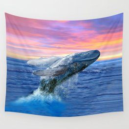 Breaching Humpback Whale at Sunset Wall Tapestry