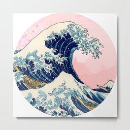 The Great Wave off Kanagawa by Hokusai on a pink landscape Metal Print
