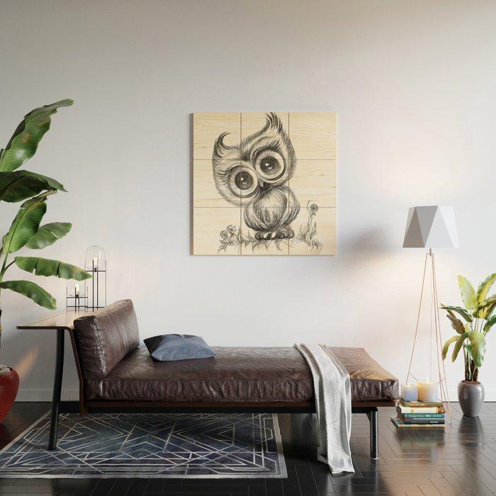 Baby Owl Wall Art Nursery Decor Bird Ilration Animals Wood By Noramanapova