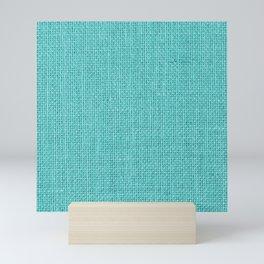 Natural Woven Aqua Blue Burlap Sack Cloth Mini Art Print
