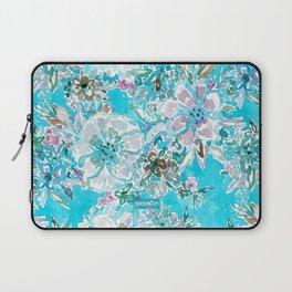 BEACH BABE Aqua Watercolor Floral Laptop Sleeve