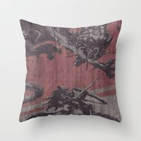 fight Throw Pillows featuring Fight by Last Call
