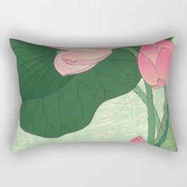 Flowering Lotus Flowers Ohara Koson Rectangular Pillow
