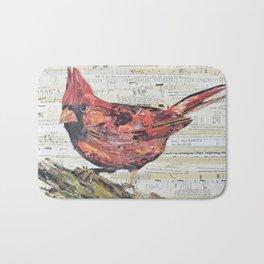 Cardinal / Red Bird Collage by C.E. White Bath Mat