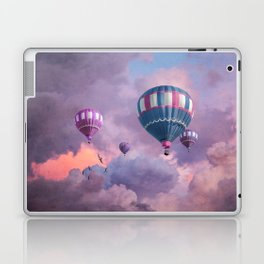 Blue, Pink, and Purple Hot Air Balloons on Pastel Clouds Laptop & iPad Skin