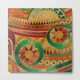 Colorful Tribal Ethnic  Pattern Embossed on Leather Metal Print