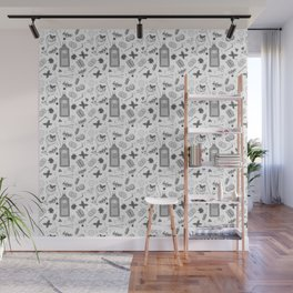 Gin Cocktails Black and White Cocktail Bar Pattern Wall Mural
