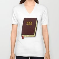 rock and roll V-neck T-shirts featuring Rock & Roll Bible by Josh LaFayette