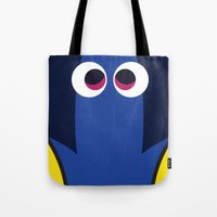 finding nemo Tote Bags featuring PIXAR CHARACTER POSTER - Dory - Finding Nemo by Marco Calignano