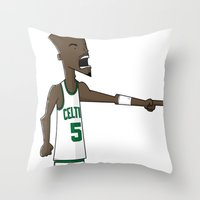 kevin russ Throw Pillows featuring Kevin Garnett by frappeboy