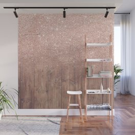 Modern faux rose gold glitter ombre brown rustic wood color block Wall Mural