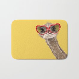 Fashion Hipster Ostrich in Yellow Bath Mat