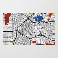 los angeles Area & Throw Rugs featuring Los Angeles by Mondrian Maps