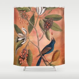 Blue Grosbeak with Sweetbay Magnolia, Vintage Natural History and Botanical Shower Curtain