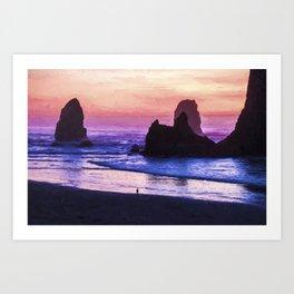 Sunset At Cannon Beach Art Print