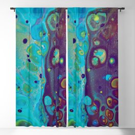Where Blues Collide - Abstract Acrylic Art by Fluid Nature Blackout Curtain