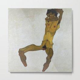 Egon Schiele - Seated Male Nude (Self-Portrait) Metal Print