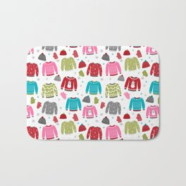 Sweaters festive outfit skiing winter sports cross country ski ugly sweater party Bath Mat