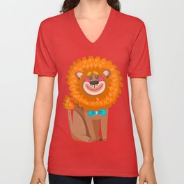 lion cartoon  cute Unisex V-Neck