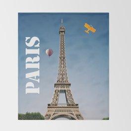 Vintage Paris France Eiffel Tower Throw Blanket