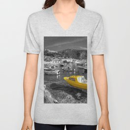 Yellow boat of Hvar in mono Unisex V-Neck