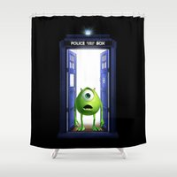 monster inc Shower Curtains featuring Tardis Monster inc by DavinciArt