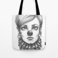 clown Tote Bags featuring Clown by Robin Ewers