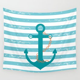 AFE Nautical Teal Ship Anchor Wall Tapestry