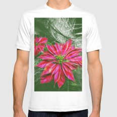 Abstract vibrant red poinsettia on green texture Mens Fitted Tee White MEDIUM