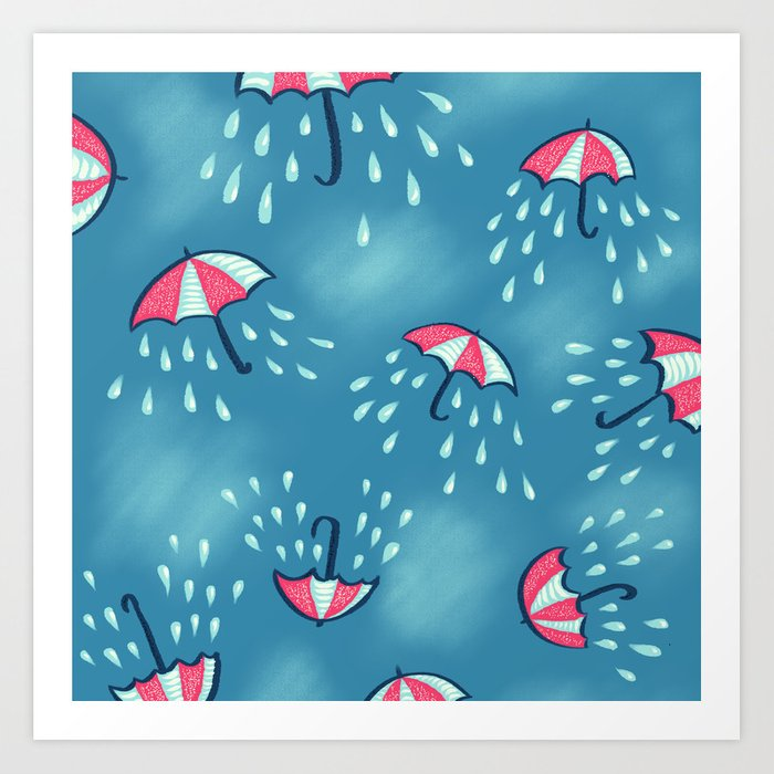 photo relating to Umbrella Pattern Printable named Raining Umbrella Habit Artwork Print through borianagiormova
