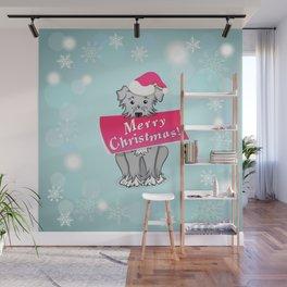 blue merry christmas Wall Mural