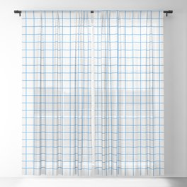 Grid Pattern - blue and white - more colors Sheer Curtain