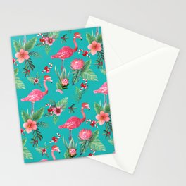 Santa Flamingo Christmas, Holiday Tropical Watercolor Stationery Cards