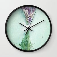 lavender Wall Clocks featuring lavender by Sylvia Cook Photography