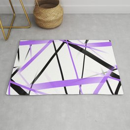 Criss Crossed Lilac and Black Stripes on White Rug