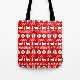English Setter Silhouettes Christmas Sweater Pattern Tote Bag