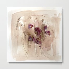 Vibrations - Abstract Flowers Metal Print