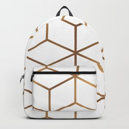White and Gold - Geometric Cube Design Backpack
