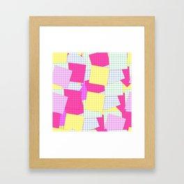 Yellow pink plaid Framed Art Print