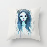 emily rickard Throw Pillows featuring Emily by André Luiz Barbosa