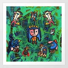 The Little King of Graffiti in the green forest with friends Art Print