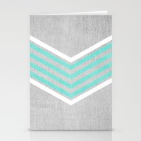 teal Stationery Cards featuring Teal and White Chevron on Silver Grey Wood by Tangerine-Tane