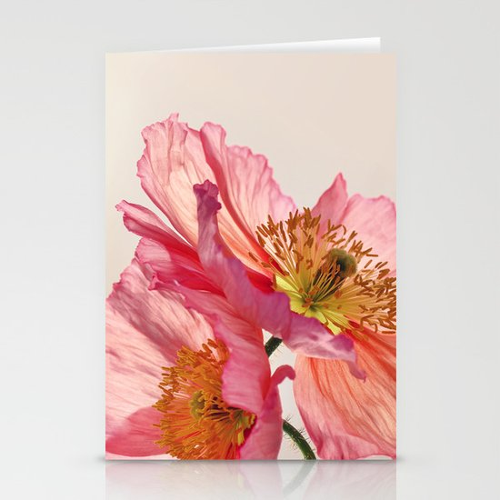 Like Light through Silk - peach / pink translucent poppy floral Stationery Cards