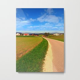 A road, a village and summer season | landscape photography Metal Print